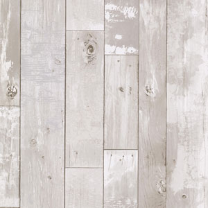 Heim White Distressed Wood Panel Wallpaper