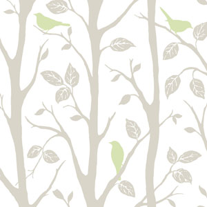Grey and Green Sitting In A Tree Peel and Stick Wallpaper