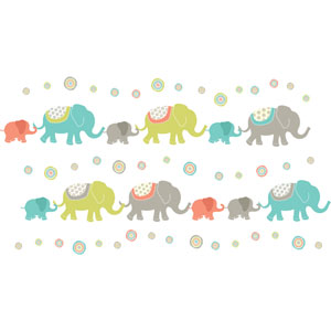 Tag Along Elephants Wall Art Kit