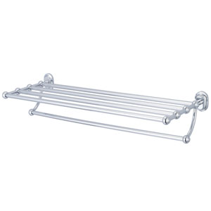 Glass Series Accessories Hand Polished Richly Triple Plated Chrome 29-Inch Towel Rack Shelf