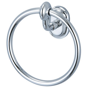 Glass Series Accessories Hand Polished Richly Triple Plated Chrome 6.5-Inch Towel Ring
