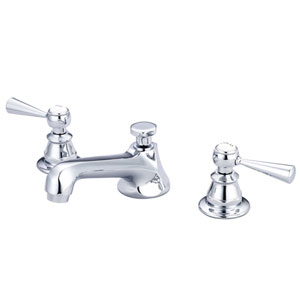 Sarah Hand Polished Richly Triple Plated Chrome Metal Lever Handles Widespread Bathroom Low Lead Water Sense Faucet