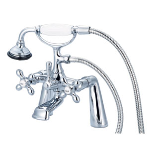 Vintage Classic Hand Polished Richly Triple Plated Chrome Cross Handles Clawfoot Tub Filler with Hand Shower