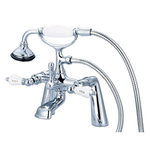 Vintage Classic Hand Polished Richly Triple Plated Chrome Hot/Cold Labeled Porcelain Lever Handles Clawfoot Tub Filler with