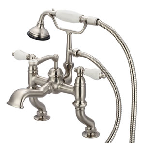 Vintage Classic Brushed Nickel with Protective Coating Hot/Cold Labeled Porcelain Lever Handles Clawfoot Tub Filler with Hand