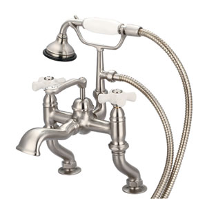 Vintage Classic Brushed Nickel with Protective Coating Porcelain Cross Handles Clawfoot Tub Filler with Hand Shower