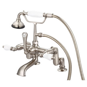 Vintage Classic Brushed Nickel with Protective Coating Porcelain Lever Handles Clawfoot Tub Filler with Hand Shower