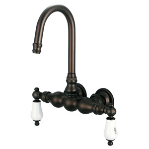 Vintage Classic Oil Rubbed Bronze with Protective Coating Hot/Cold Labeled Porcelain Lever Handles Basin Faucet