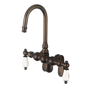 Vintage Classic Oil Rubbed Bronze with Protective Coating Hot/Cold Labeled Porcelain Lever Handles Clawfoot Tub Filler