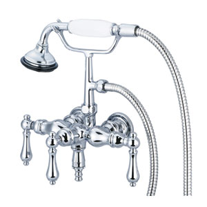 Vintage Classic Hand Polished Richly Triple Plated Chrome Lever Handles Clawfoot Tub Filler with Hand Shower