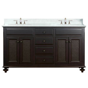 London Espresso  Double Sink 60-Inch Bathroom Vanity