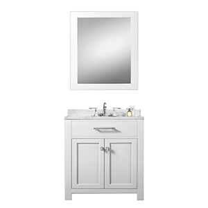 Madison Pure White 30-Inch Single Sink Bathroom Vanity with Matching Framed Mirror
