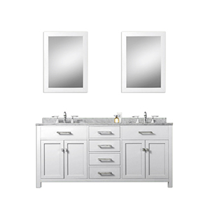 Madison Pure White 60-Inch Double Sink Bathroom Vanity with Two Matching Framed Mirror
