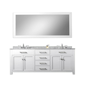 Madison Pure White 72-Inch Double Sink Bathroom Vanity with Matching Framed Mirror