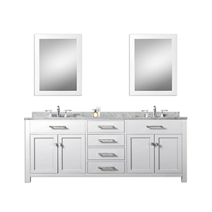 Madison Pure White 72-Inch Double Sink Bathroom Vanity Combo with Two Matching Framed Mirror