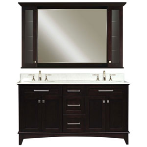 Manhattan Espresso Double Sink Bathroom Vanity Combo