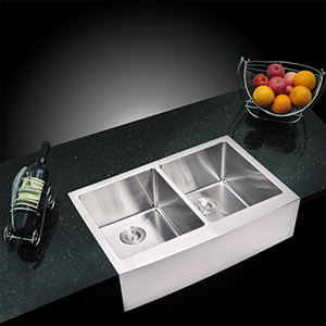 Premium Scratch Resistant Satin 33-Inch, 15 mm Corner Radius Double Bowl Apron Front Kitchen Sink