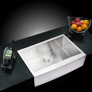 Premium Scratch Resistant Satin 33-Inch, Zero Radius Single Bowl Apron Front Kitchen Sink