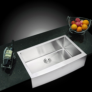 Premium Scratch Resistant Satin 33-Inch, 15 mm Corner Radius Single Bowl Apron Front Kitchen Sink with Drain and Strainer