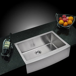 Premium Scratch Resistant Satin 30-Inch, 15 mm Corner Radius Single Bowl Apron Front Kitchen Sink with Drain, Strainer and