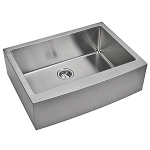 Premium Scratch Resistant Satin 33-Inch, 15 mm Corner Radius Single Bowl Apron Front Kitchen Sink with Drain, Strainer and