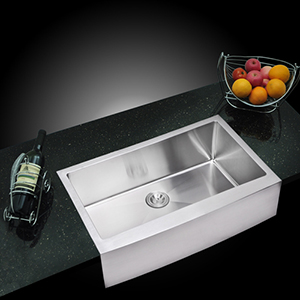 Premium Scratch Resistant Satin 36-Inch, 15 mm Corner Radius Single Bowl Apron Front Kitchen Sink with Drain, Strainer and
