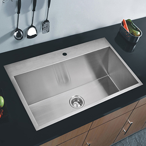 Premium Scratch Resistant Satin 33-Inch, Zero Radius Single Bowl Drop in Kitchen Sink with Drain, Strainer and Bottom Grid