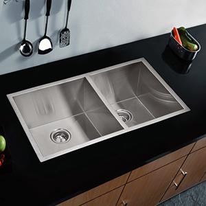 Premium Scratch Resistant Satin 33-Inch, Zero Radius Double Bowl Undermount Kitchen Sink with Drain, Strainer and Bottom Grid
