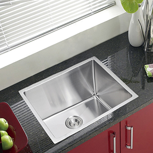 Premium Scratch Resistant Satin 23-Inch, 15 mm Corner Radius Single Bowl Undermount Kitchen Sink Combo with Drain, Strainer