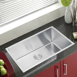 Premium Scratch Resistant Satin 30-Inch, 15 mm Corner Radius Single Bowl Undermount Kitchen Sink Combo with Drain, Strainer and Bottom Grid