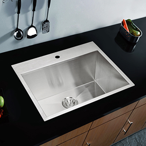 Premium Scratch Resistant Satin 25-Inch, Zero Radius Single Bowl Drop in Kitchen Sink with Drain and Strainer