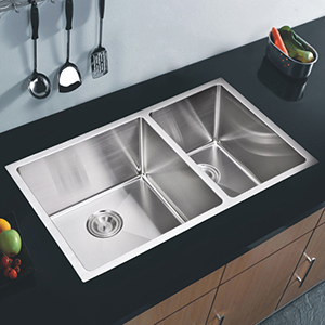 Premium Scratch Resistant Satin 32-Inch, 15 mm Corner Radius Double Bowl Undermount Kitchen Sink with Drain and Strainer