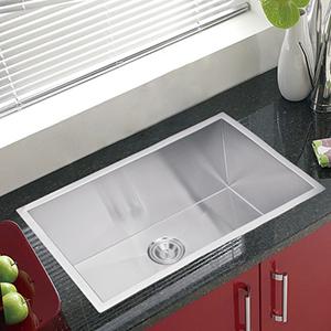 Premium Scratch Resistant Satin 30-Inch, Zero Radius Single Bowl Undermount Kitchen Sink with Drain and Strainer