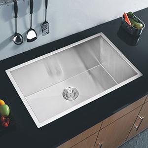 Premium Scratch Resistant Satin 32-Inch, Zero Radius Single Bowl Undermount Kitchen Sink with Drain and Strainer
