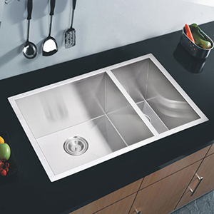 Premium Scratch Resistant Satin 29-Inch, Zero Radius Double Bowl Undermount Kitchen Sink