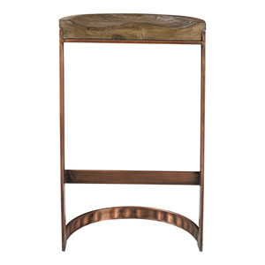 Bancroft Gray Bar Stool With Copper Detailing