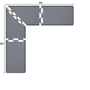 PuzzlePiece 2-Ft. L-Series Grey 6.5x6.5 Premium Anti-Fatigue Mat