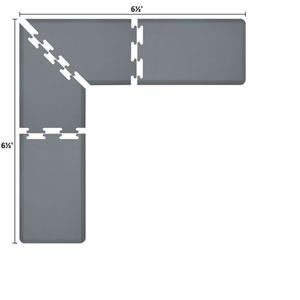 PuzzlePiece 2-Ft. L-Series Grey 6.5x6.5 Premium Anti-Fatigue Mat