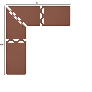 PuzzlePiece 2-Ft. L-Series Brown 6.5x6 Premium Anti-Fatigue Mat