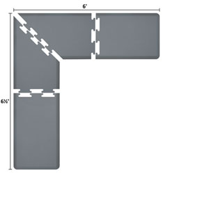 PuzzlePiece 2-Ft. L-Series Grey 6.5x6 Premium Anti-Fatigue Mat