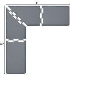 PuzzlePiece 2-Ft. L-Series Grey 6.5x6 Premium Anti-Fatigue Mat