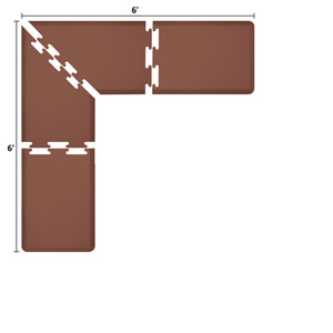 PuzzlePiece 2-Ft. L-Series Brown 6x6 Premium Anti-Fatigue Mat