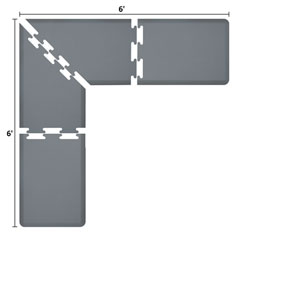PuzzlePiece 2-Ft. L-Series Grey 6x6 Premium Anti-Fatigue Mat