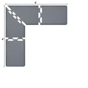 PuzzlePiece 2-Ft. L-Series Grey 6x6 Premium Anti-Fatigue Mat