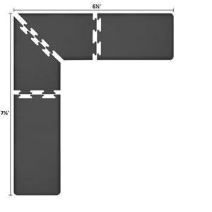 PuzzlePiece 2-Ft. L-Series Black 7.5x6.5 Premium Anti-Fatigue Mat