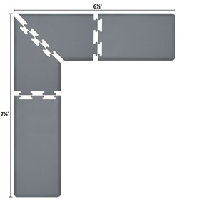 PuzzlePiece 2-Ft. L-Series Grey 7.5x6.5 Premium Anti-Fatigue Mat