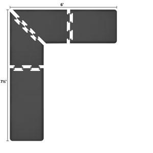 PuzzlePiece 2-Ft. L-Series Black 7.5x6 Premium Anti-Fatigue Mat