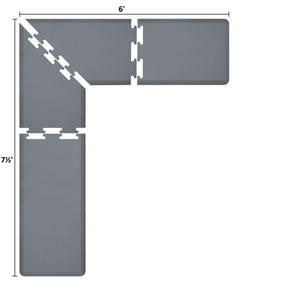 PuzzlePiece 2-Ft. L-Series Grey 7.5x6 Premium Anti-Fatigue Mat