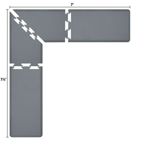 PuzzlePiece 2-Ft. L-Series Grey 7.5x7 Premium Anti-Fatigue Mat