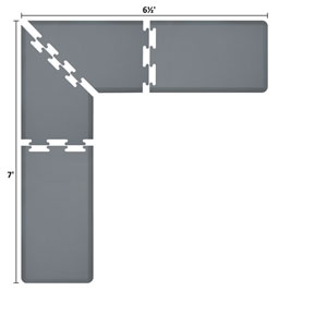 PuzzlePiece 2-Ft. L-Series Grey 7x6.5 Premium Anti-Fatigue Mat